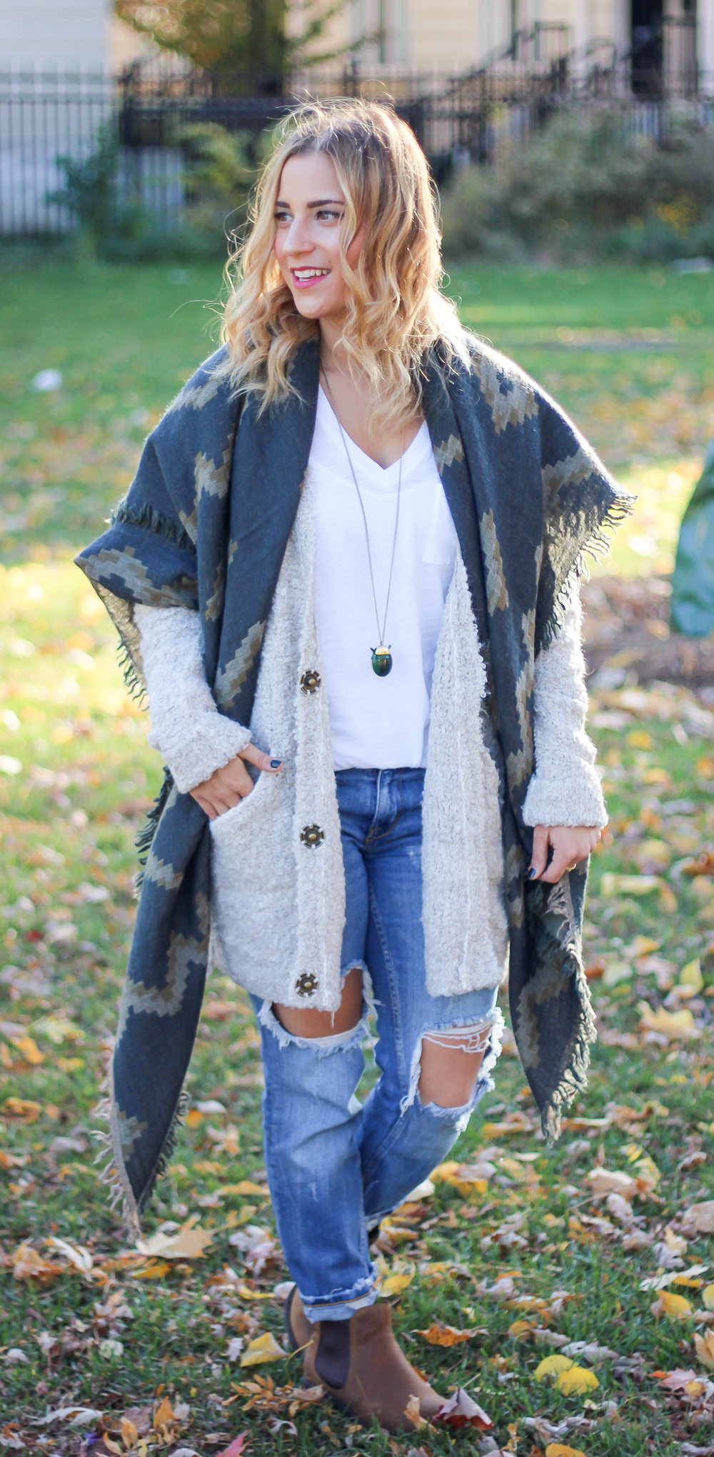 Casual Fall Outfit, wearing a Free People oversized boucle slouchy cardigan and Aritzia blanket scarf