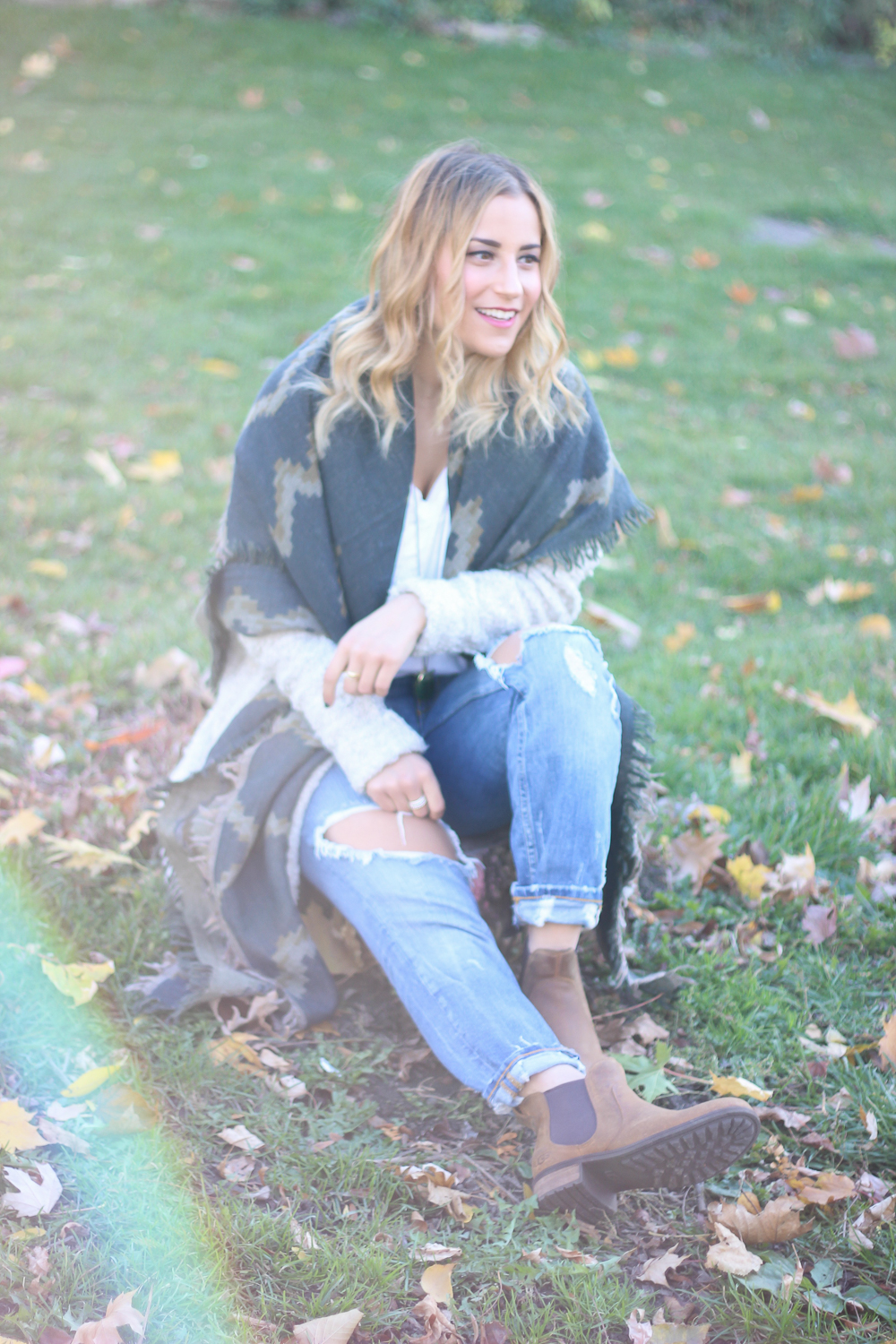 Toronto Fashion Blogger, Jackie Goldhar, wearing a Free People oversized cardigan, Aritzia blanket scarf, and ripped boyfriend jeans