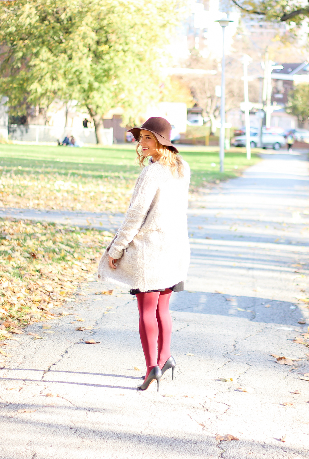 Free People Boucle cardigan, Vince Camuto pumps and a J.Crew hat