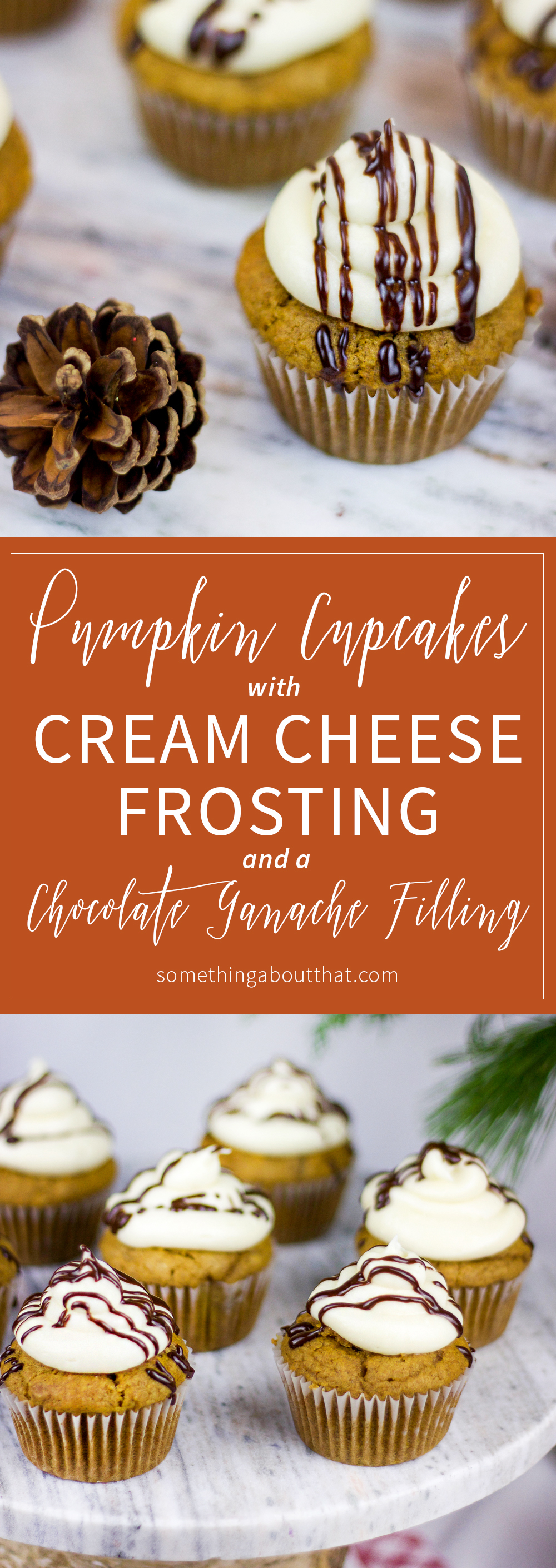 Recipe for pumpkin spice cupcakes with a chocolate ganache filling and cream cheese frosting