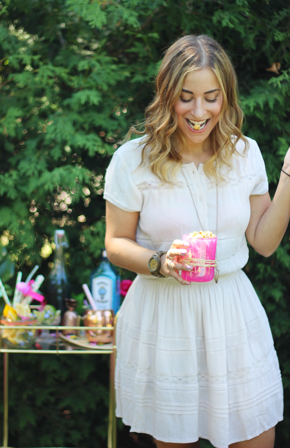 Canadian life and style blogger, Jackie Goldhar of Something About That, wearing a summer dress from Aritzia