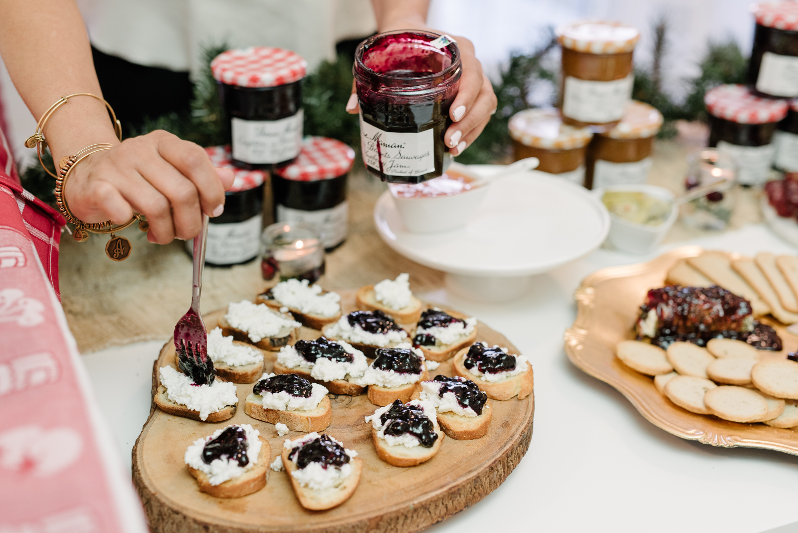 Blueberry compote with lemon ricotta crostini