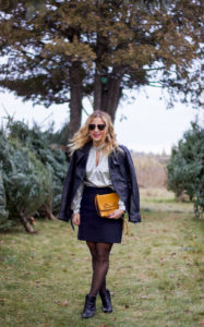 Canadian fashion and lifestyle blogger, Jackie Goldhar from Something About That, wearing a Soia & Kyo leather moto jacket, Express Metallic Top and J.Crew skirt for the holidays
