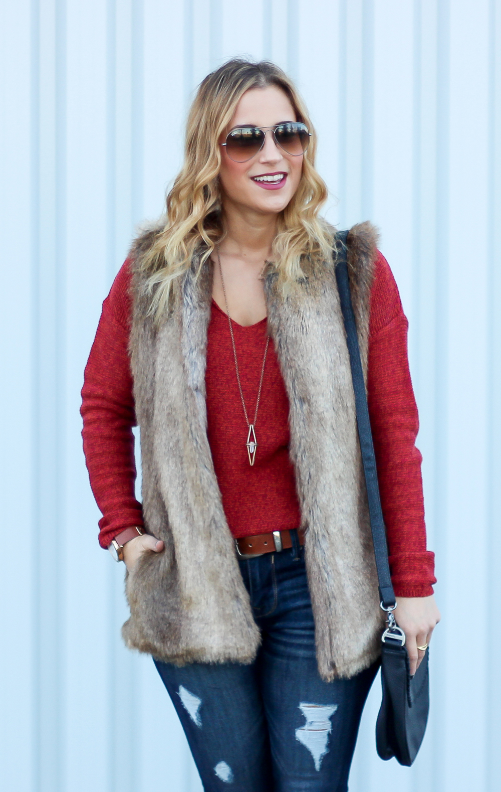 Old Navy V-Neck Sweater, Faux fur vest from Zara and Ripped Jeans from Express
