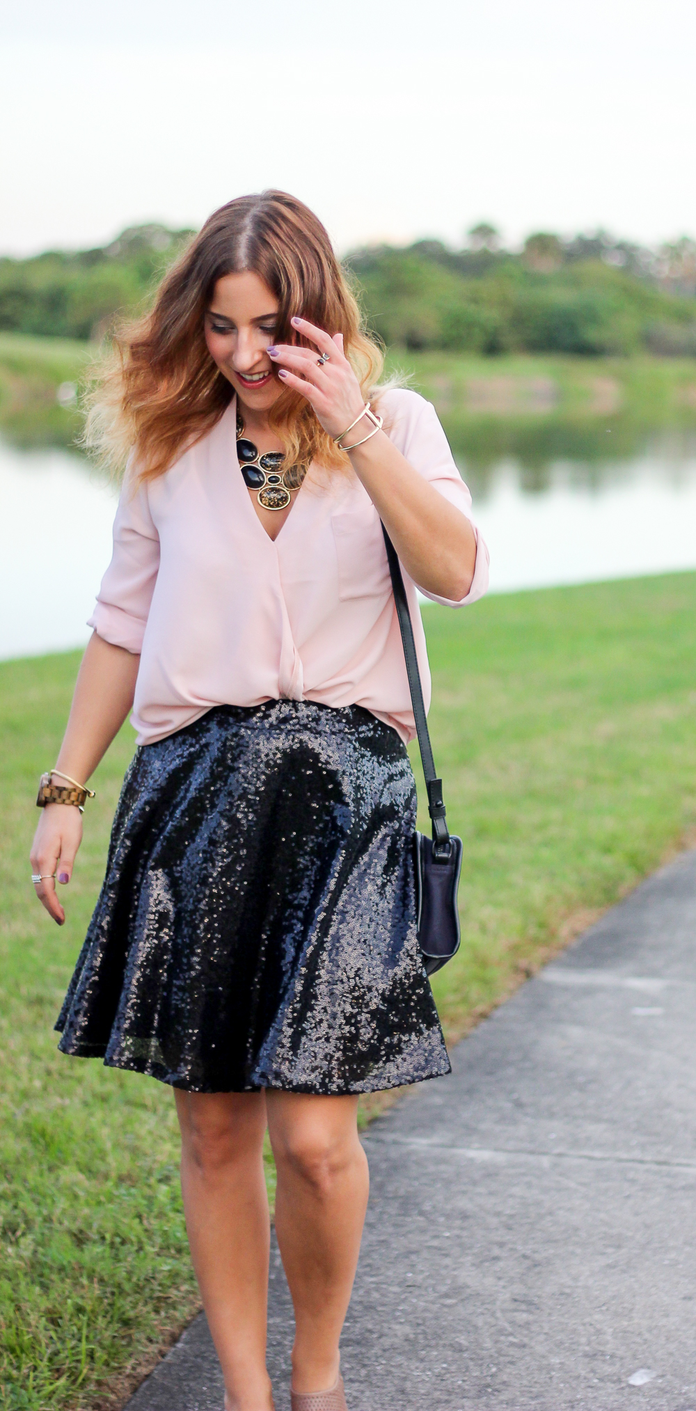 Last Minute New Year's Eve Outfit Ideas, featuring a sequin skirt from Target and a pink blouse from Topshop
