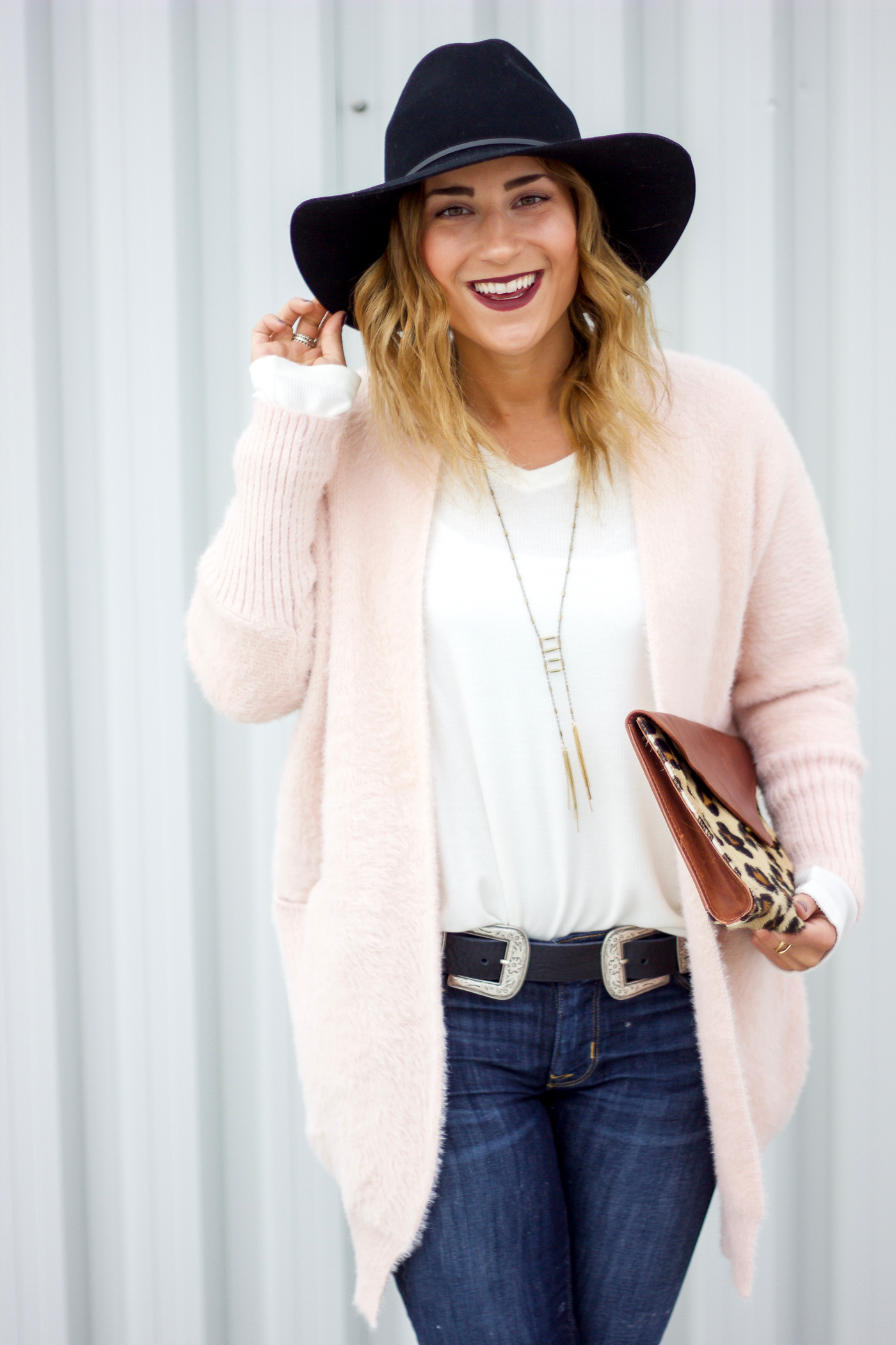 Chicwish Comfy in Fascination Cardigan in Pink and Aritzia Wide Brim Hat Outfit Idea