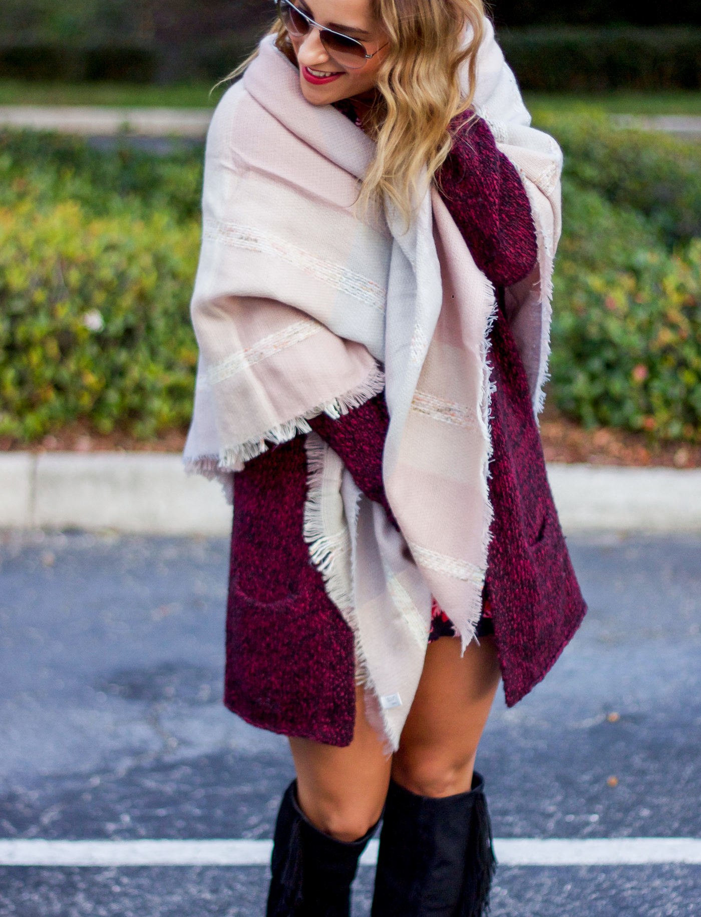 How to wear a blanket scarf for winter in Florida