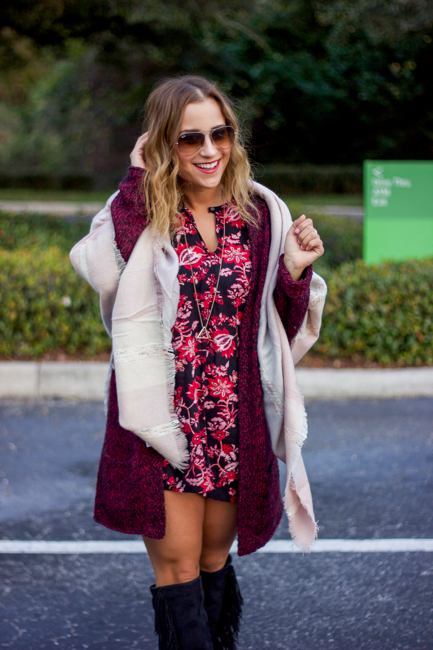 Toronto fashion blogger is wearing a dark floral dress from Nordstrom rack, blanket scarf from Shopbop and a cardigan from Aritzia