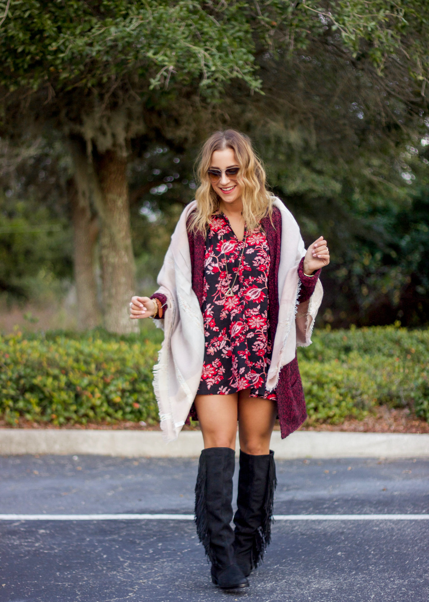 How to wear a dark floral dress in winter like a fashion blogger