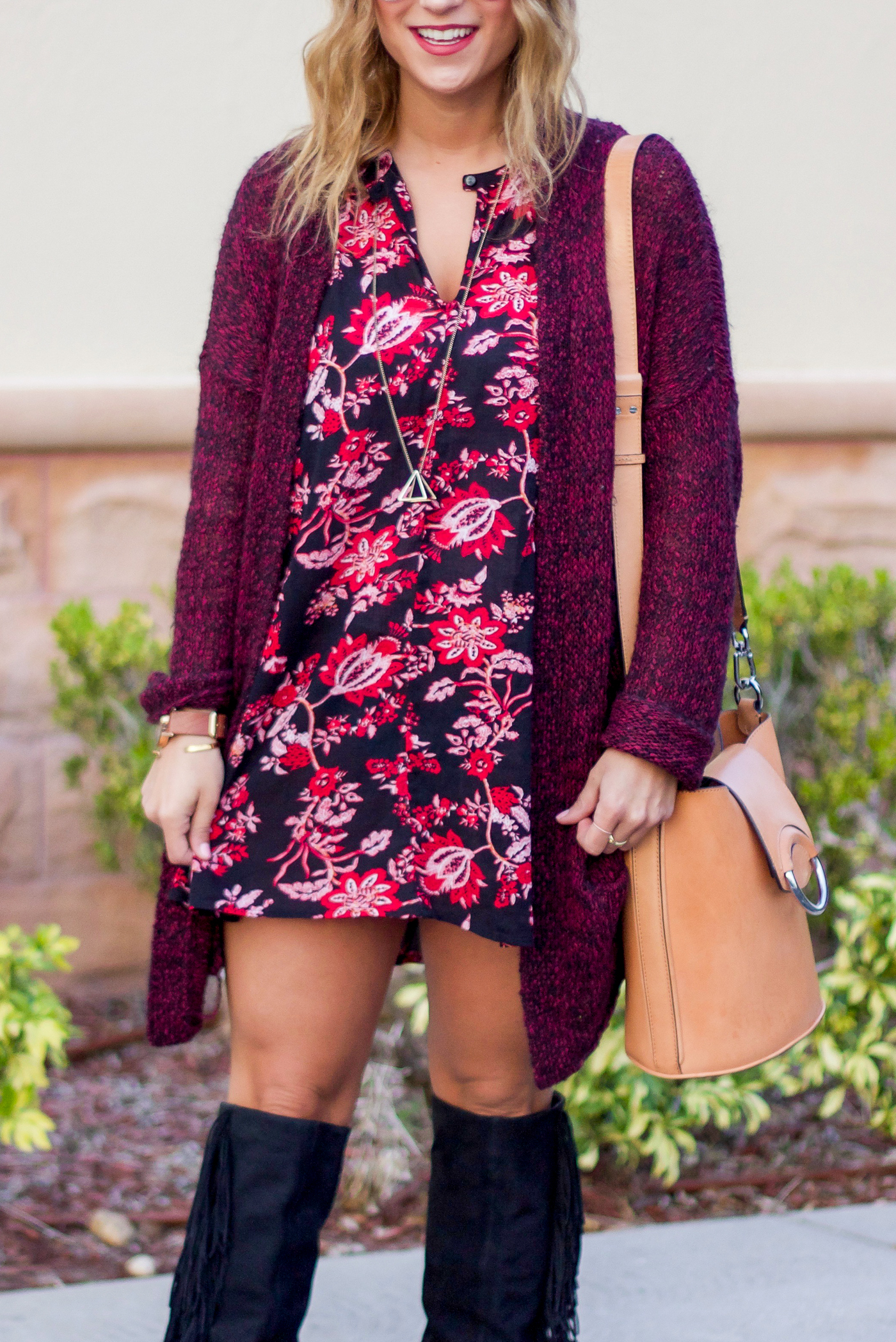 Jackie is a Canadian fashion blogger, wearing a dark floral printed dress that she bought at Nordstrom rack