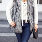 Easy Winter Outfit Idea: Furry Vest and Fidelity Denim