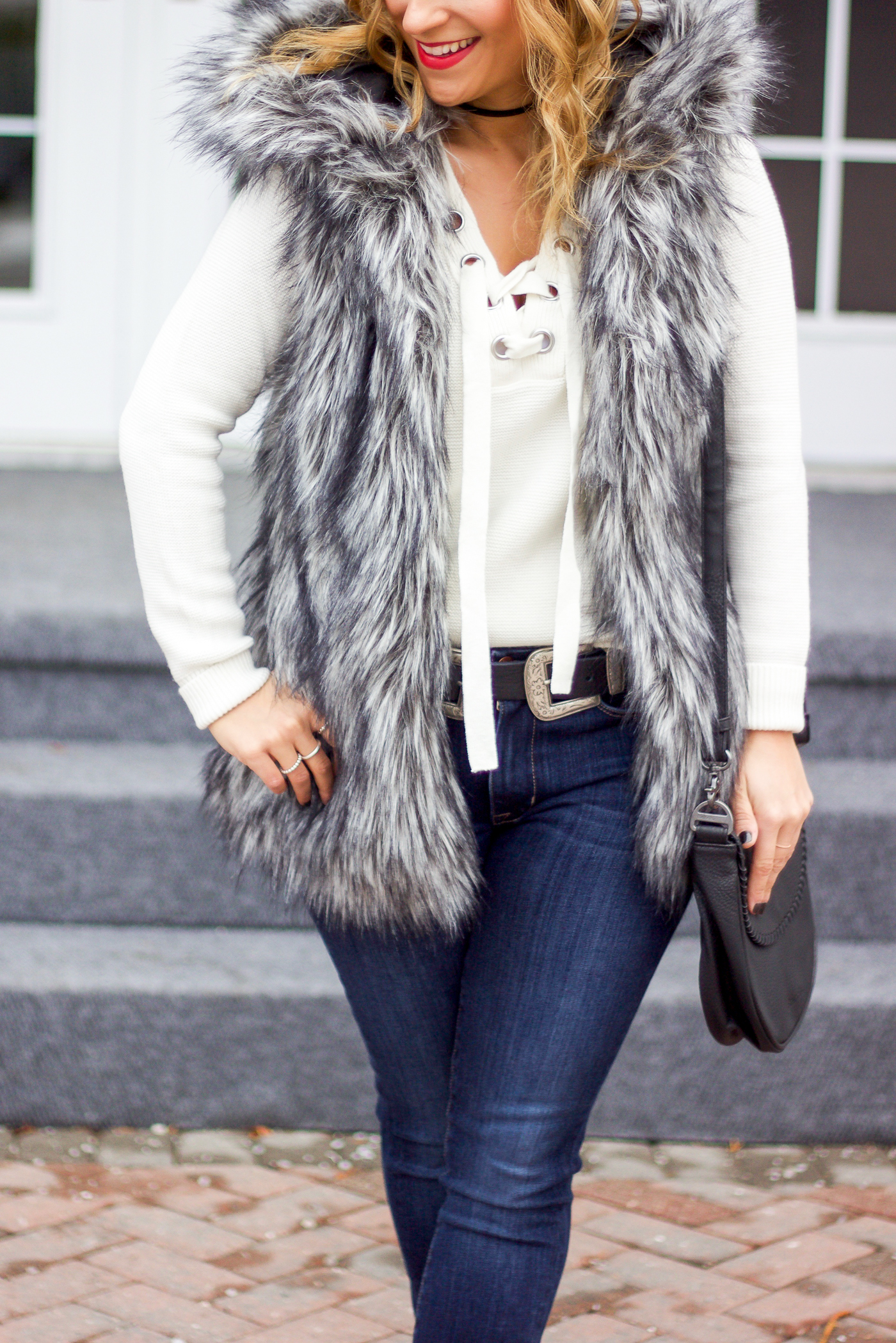 How to wear a great pair of Fidelity Denim jeans for the winter, like a fashion blogger