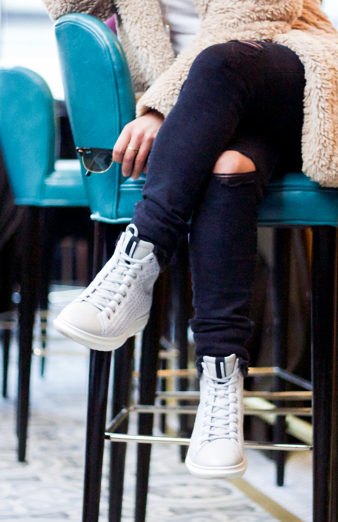 Canadian Style Blogger wearing the ECCO Soft 3 High Top Sneakers