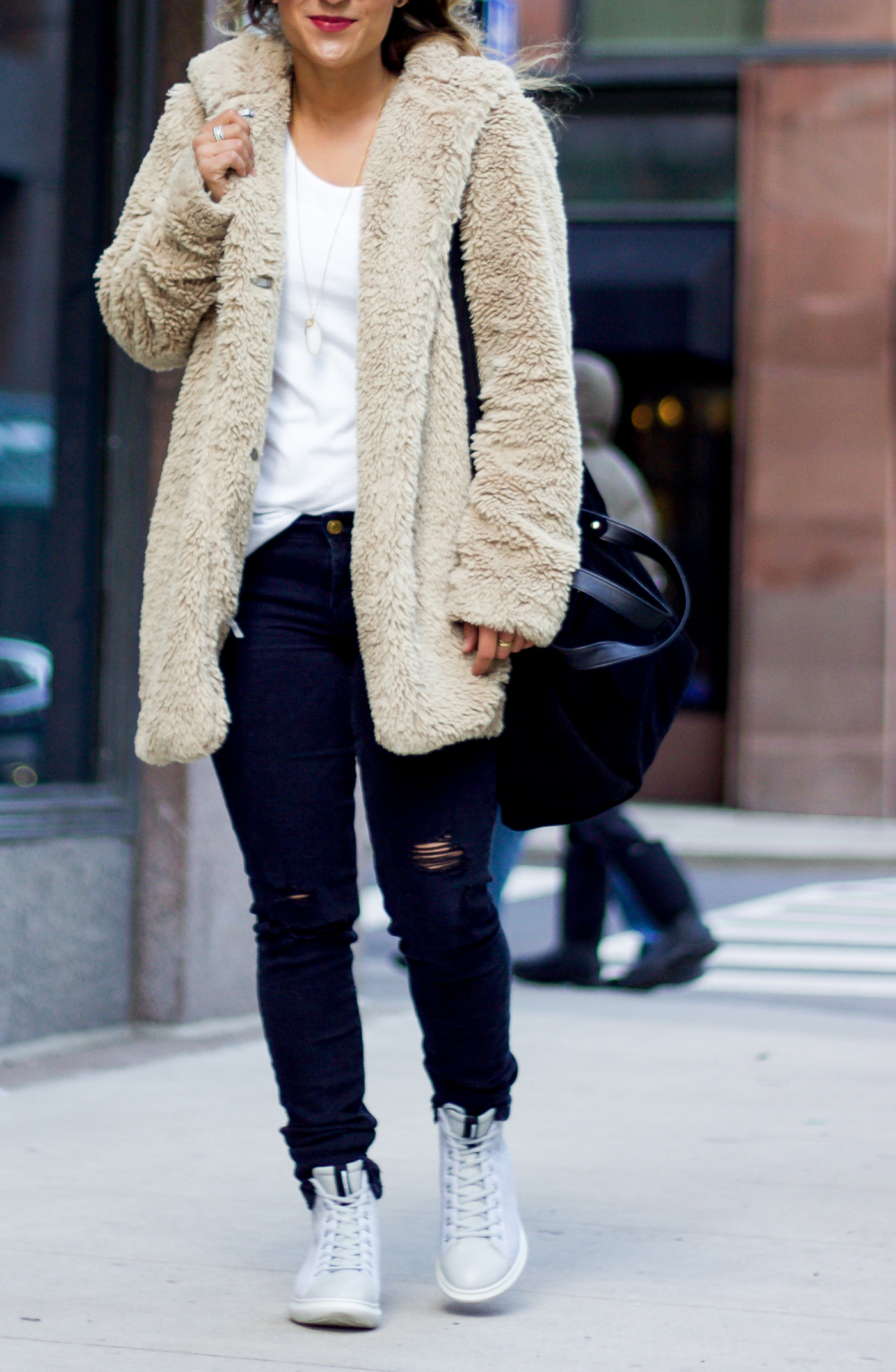 Gap sherpa jacket, Zara jeans and Ecco High Top Sneakers, as a winter outfit idea