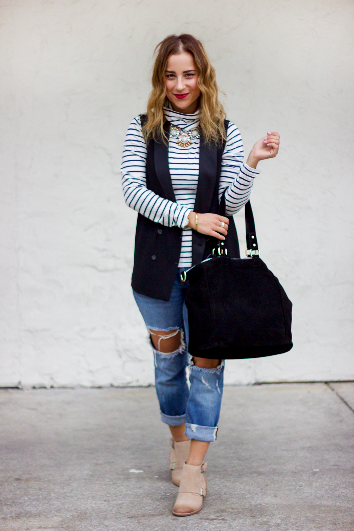 Canadian fashion blogger wearing Madewell turtleneck, Topshop black vest and Zara boyfriend jeans with rips