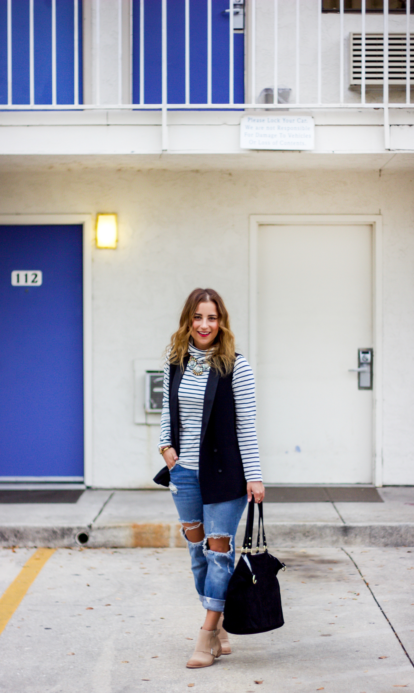 Madewell striped turtleneck, Topshop black vest and Zara boyfriend jeans