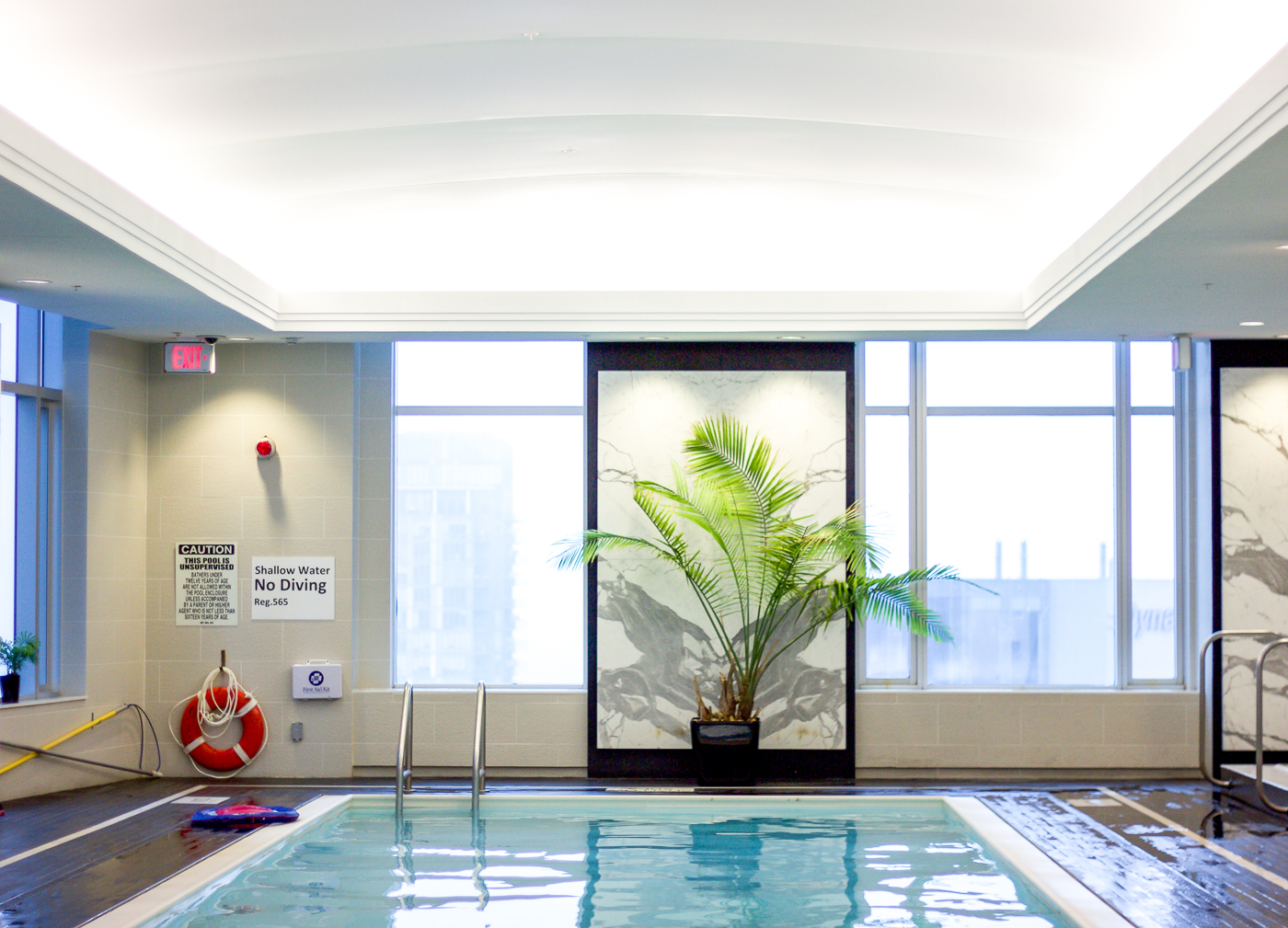 The pool area at the PUREBEAUTY salon and spa at Trump Toronto Hotel