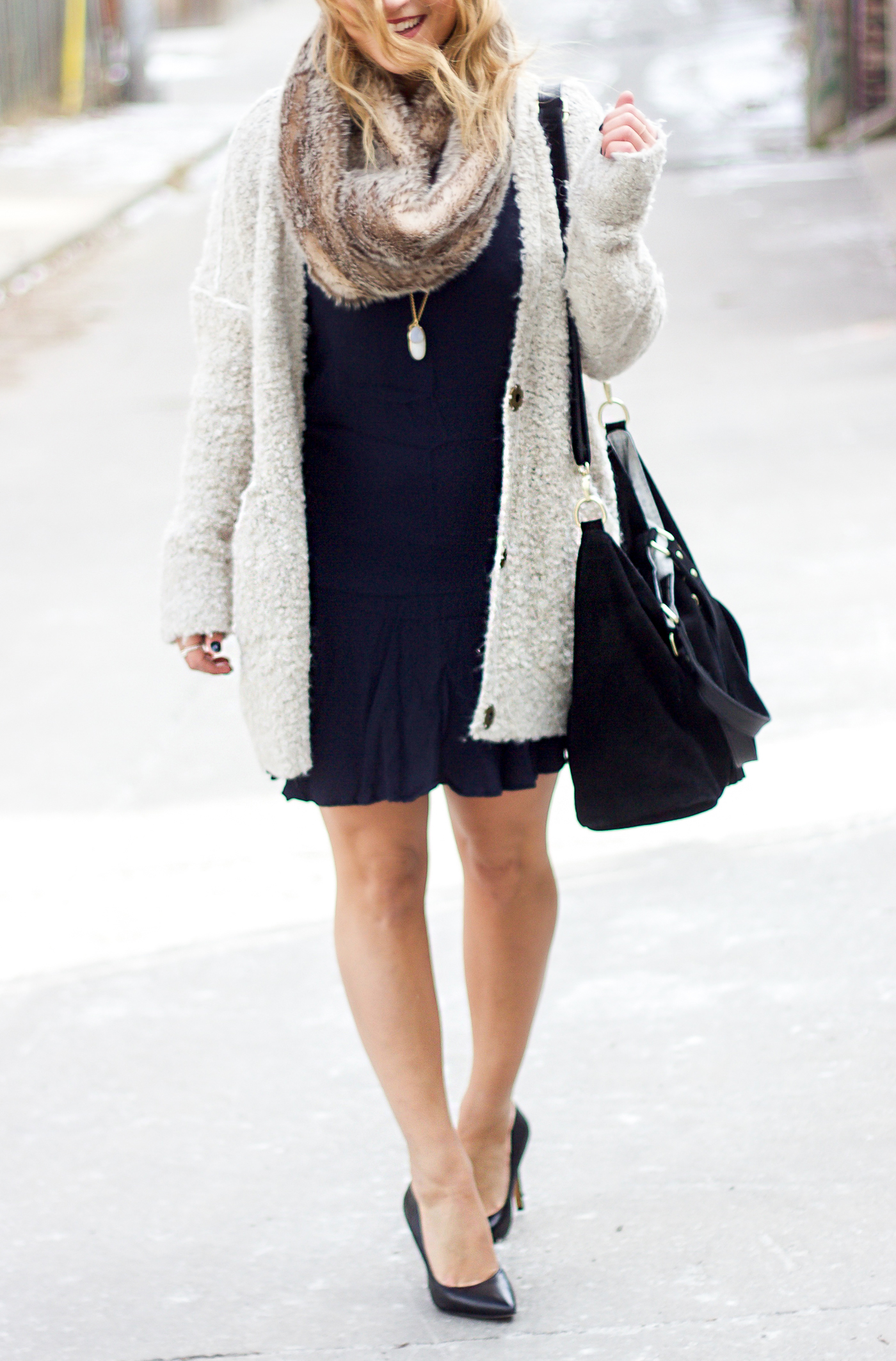 Gap dress paired with an oversized Free People Cardigan