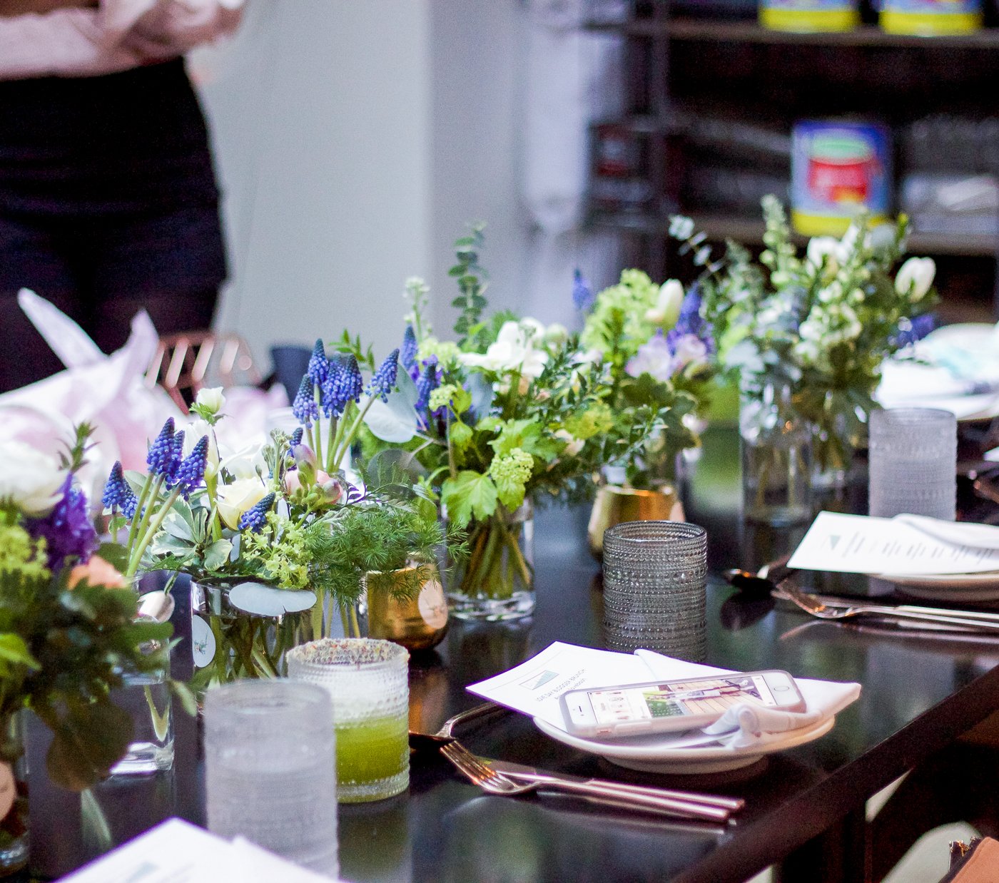 Wildnorth Flowers table set up for Toronto blogger brunch at Planta