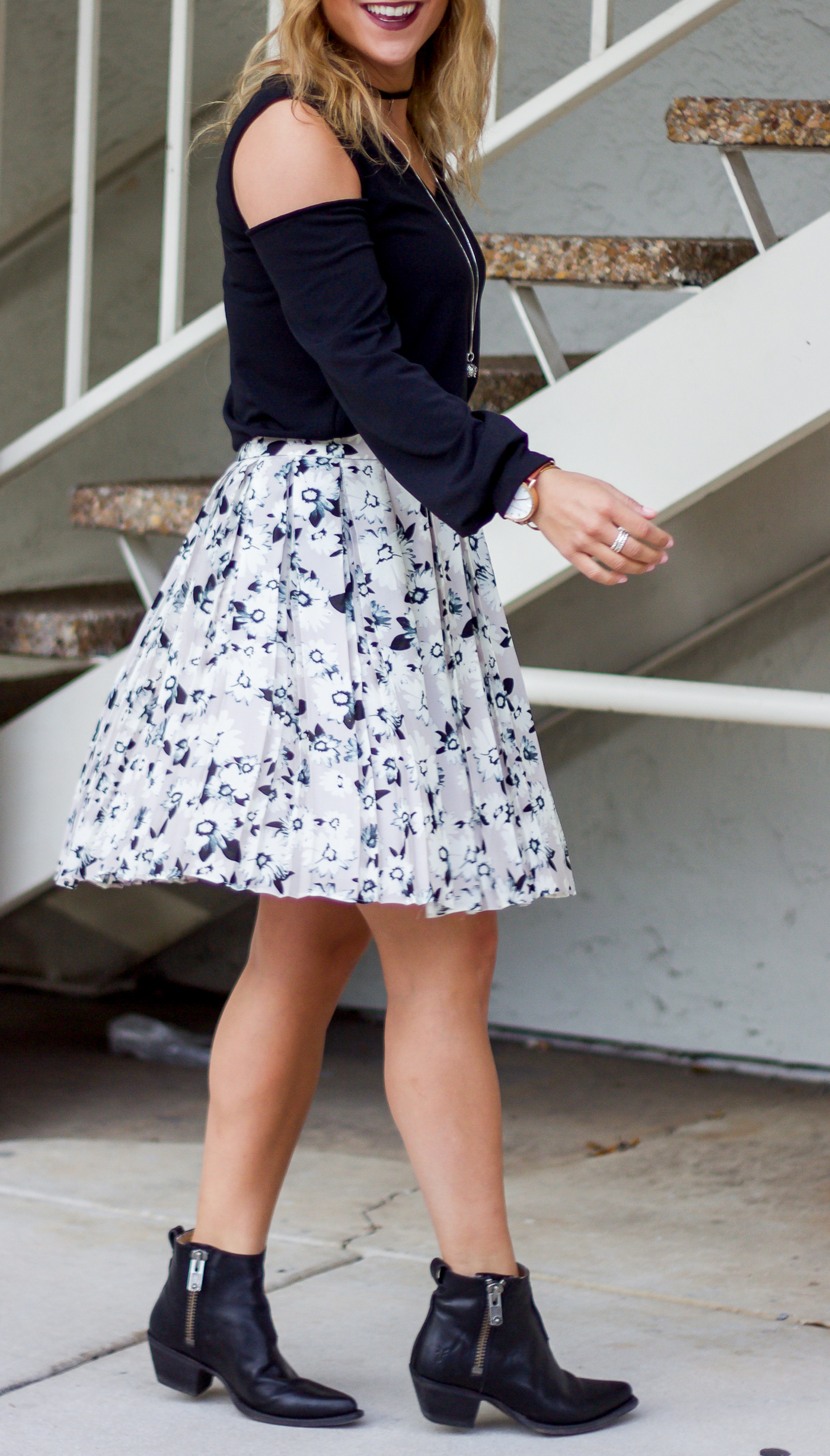 Floral skirt from Banana Republic and Frye black ankle booties from Shopbop