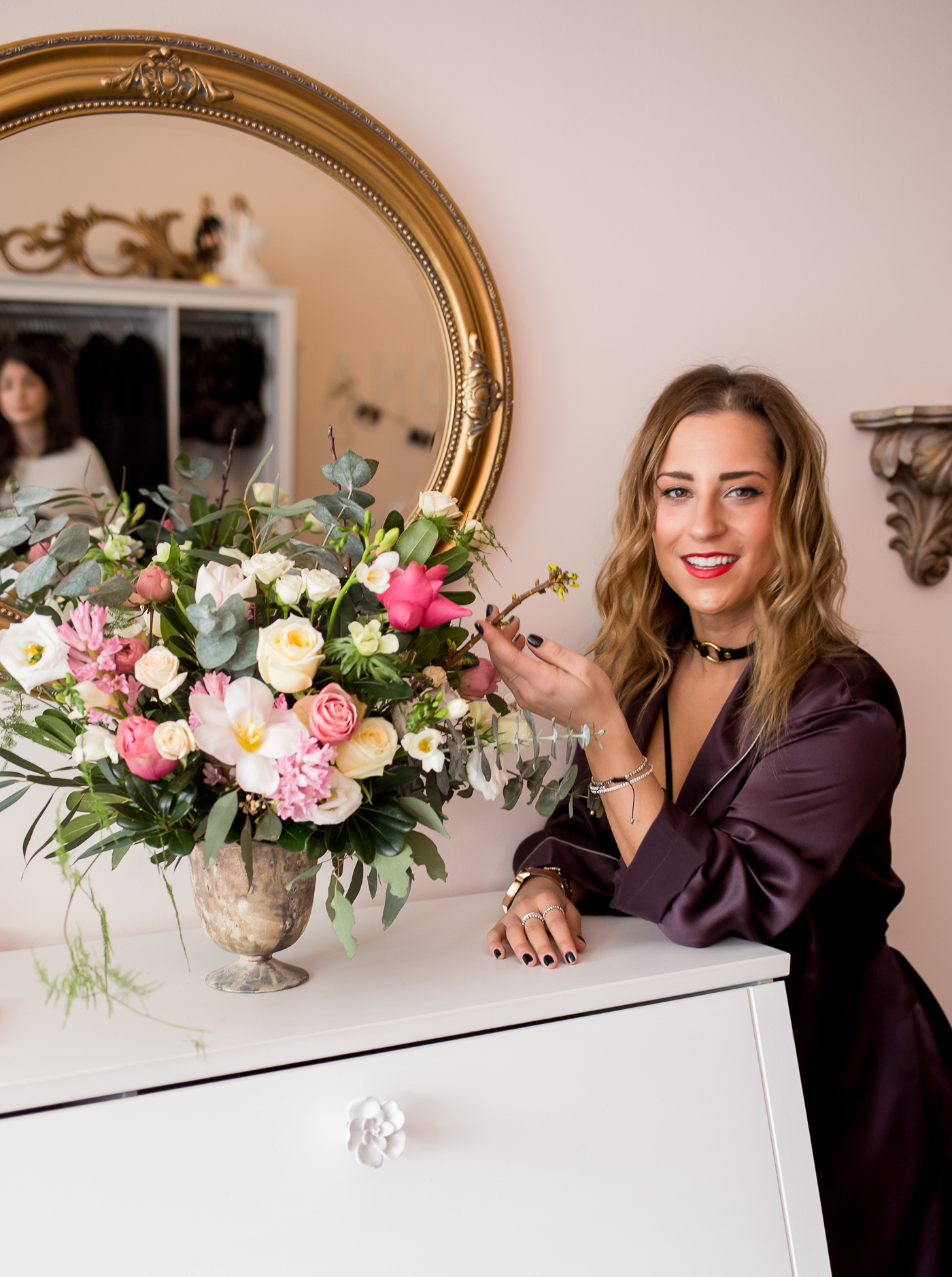 Toronto bloggers collaborate on a girly photoshoot, with florals from Wildnorth Flowers