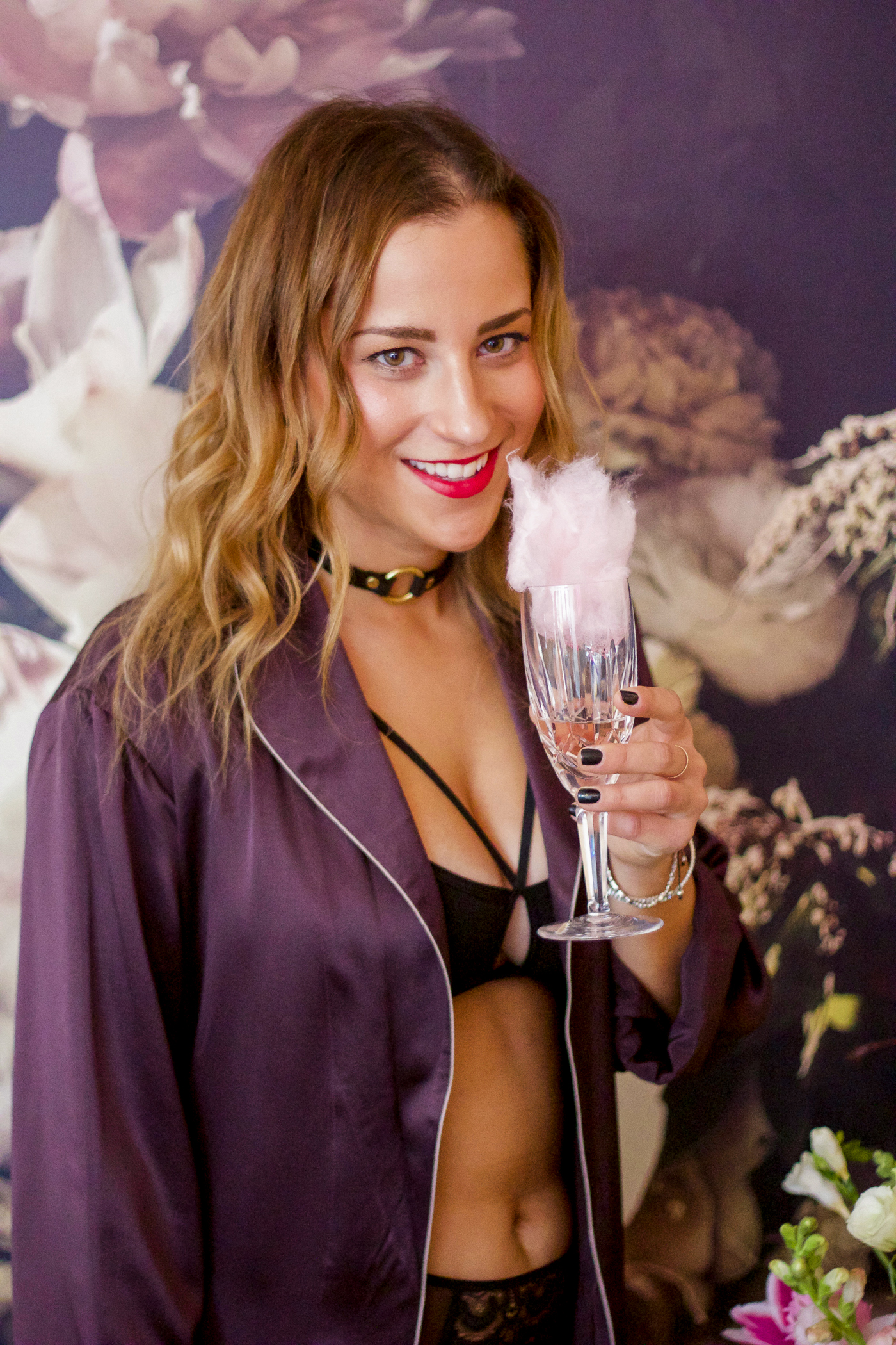 Toronto blogger shoot at Stole My Heart, with Fancy Puffs and Champagne for props