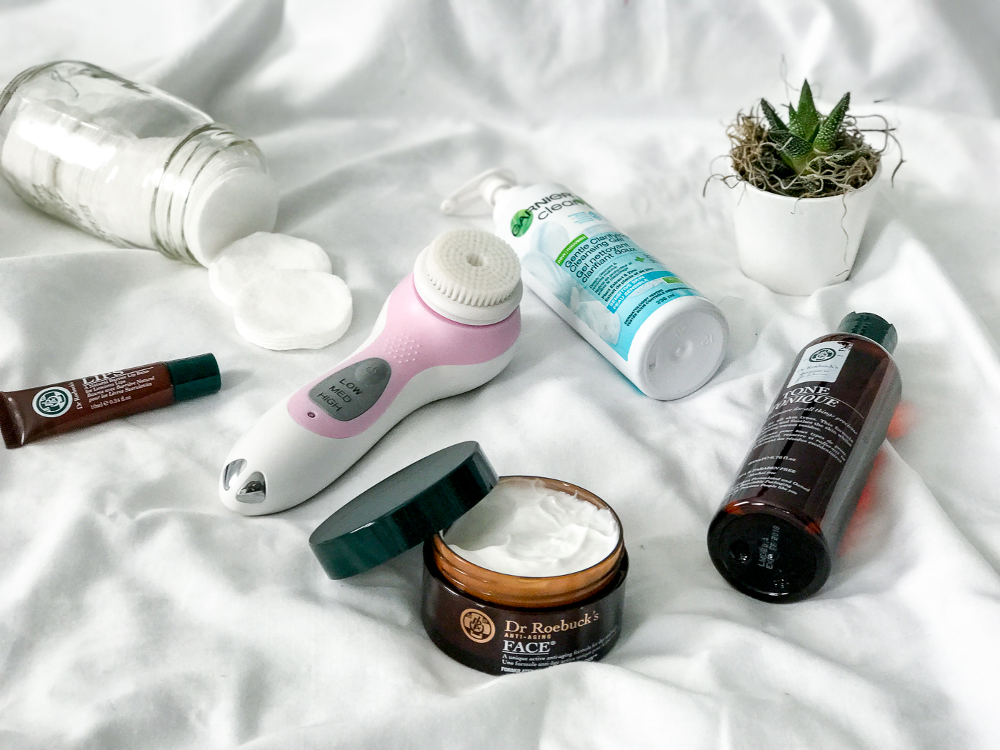 Winter Night-Time Skincare Routine, featuring Conair True Glow, Garnier Cleanser and Dr. Roebuck's Products