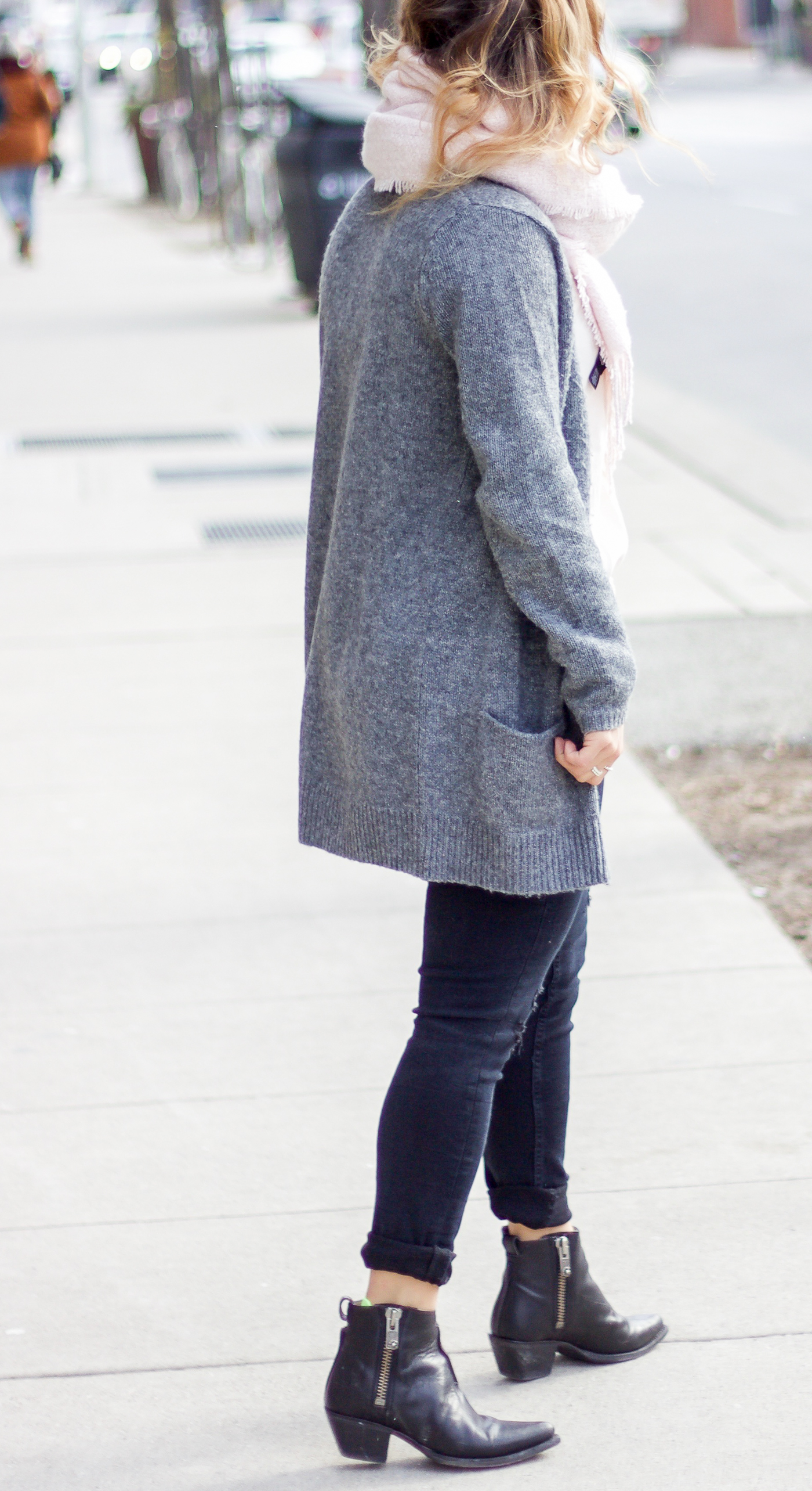 Toronto fashion blogger, wearing a cardigan that was found from shopping her closet