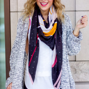 How to wear a square scarf with a cardigan