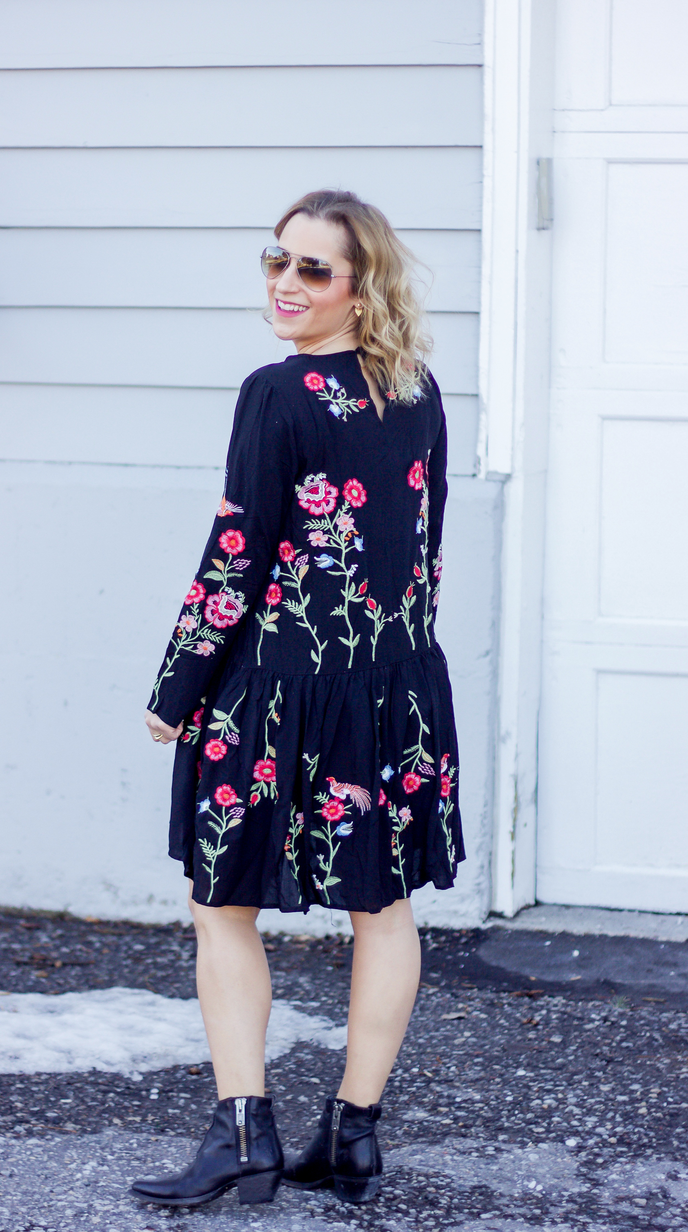Canadian fashion and lifestyle blogger, Jackie of Something About That, is sharing a spring outfit, featuring a floral embroidered dress