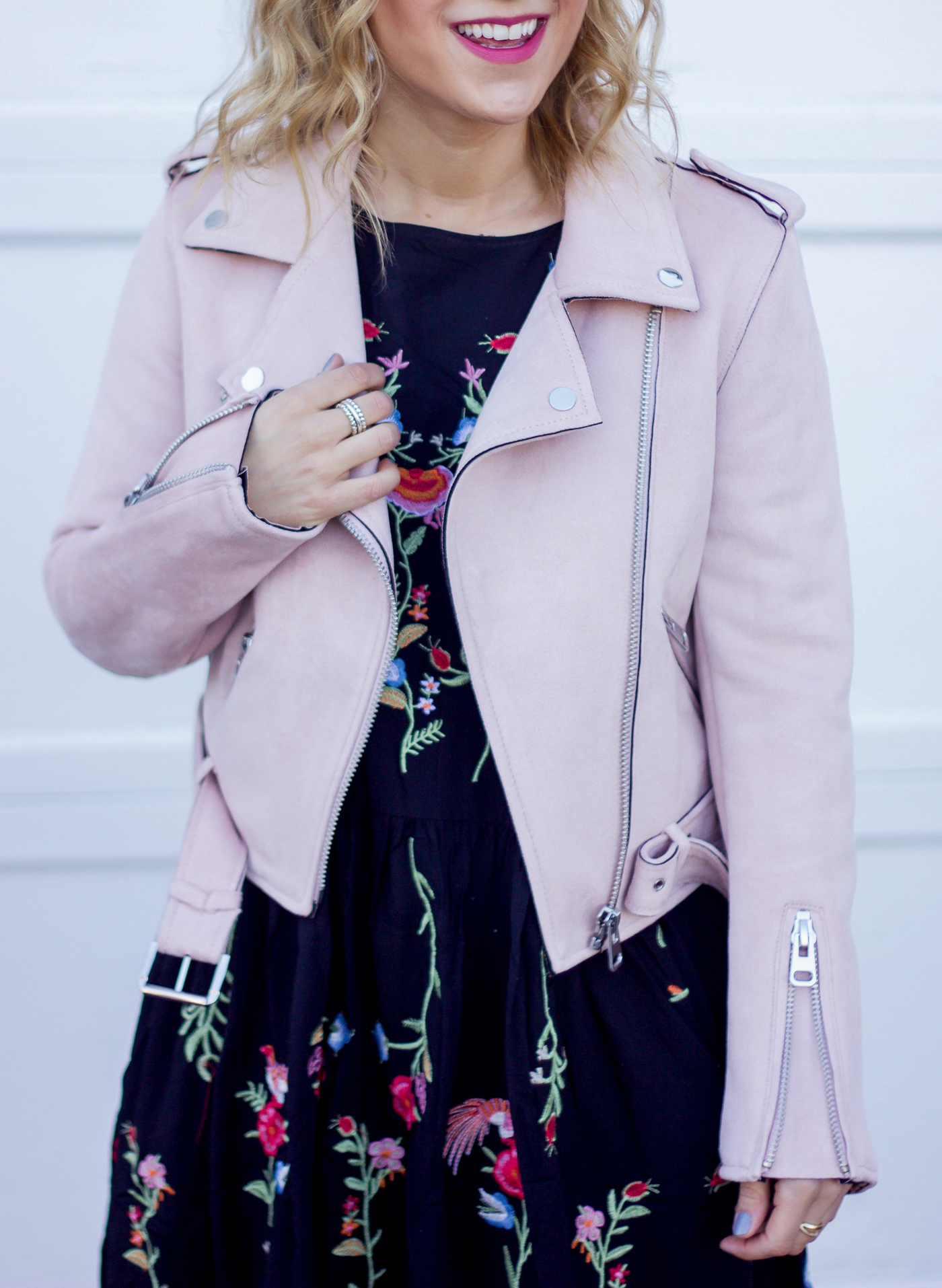 The pastel pink suede motorcycle jacket from Zara is a spring staple and perfect for so many outfit ideas