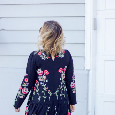 Simple spring outfit idea, featuring a black dress with floral embroidery from Chicwish