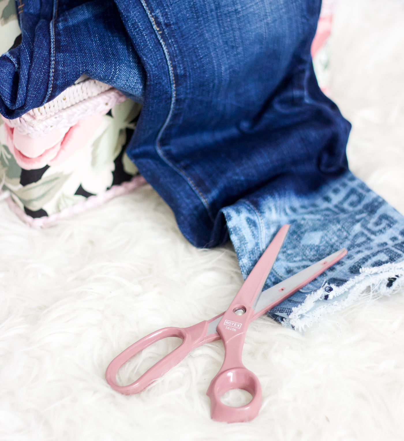 Quick and easy tutorial for how to cut your jeans into the step-hem style