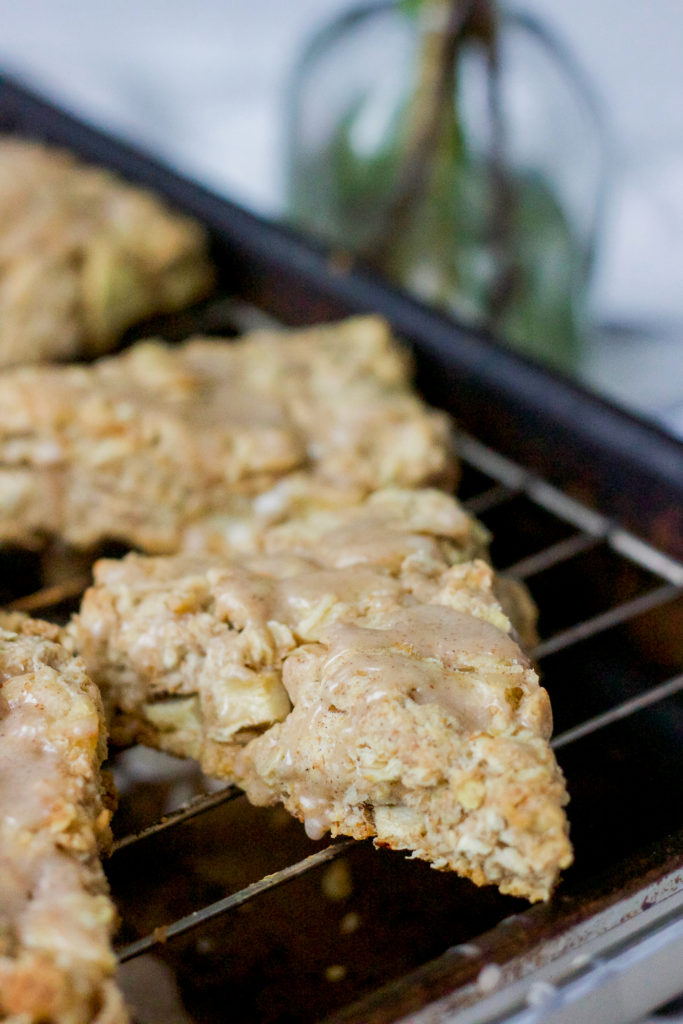 Oatmeal cinnamon apple scones, as shot on my Canon rebel t3i and a 24mm lens