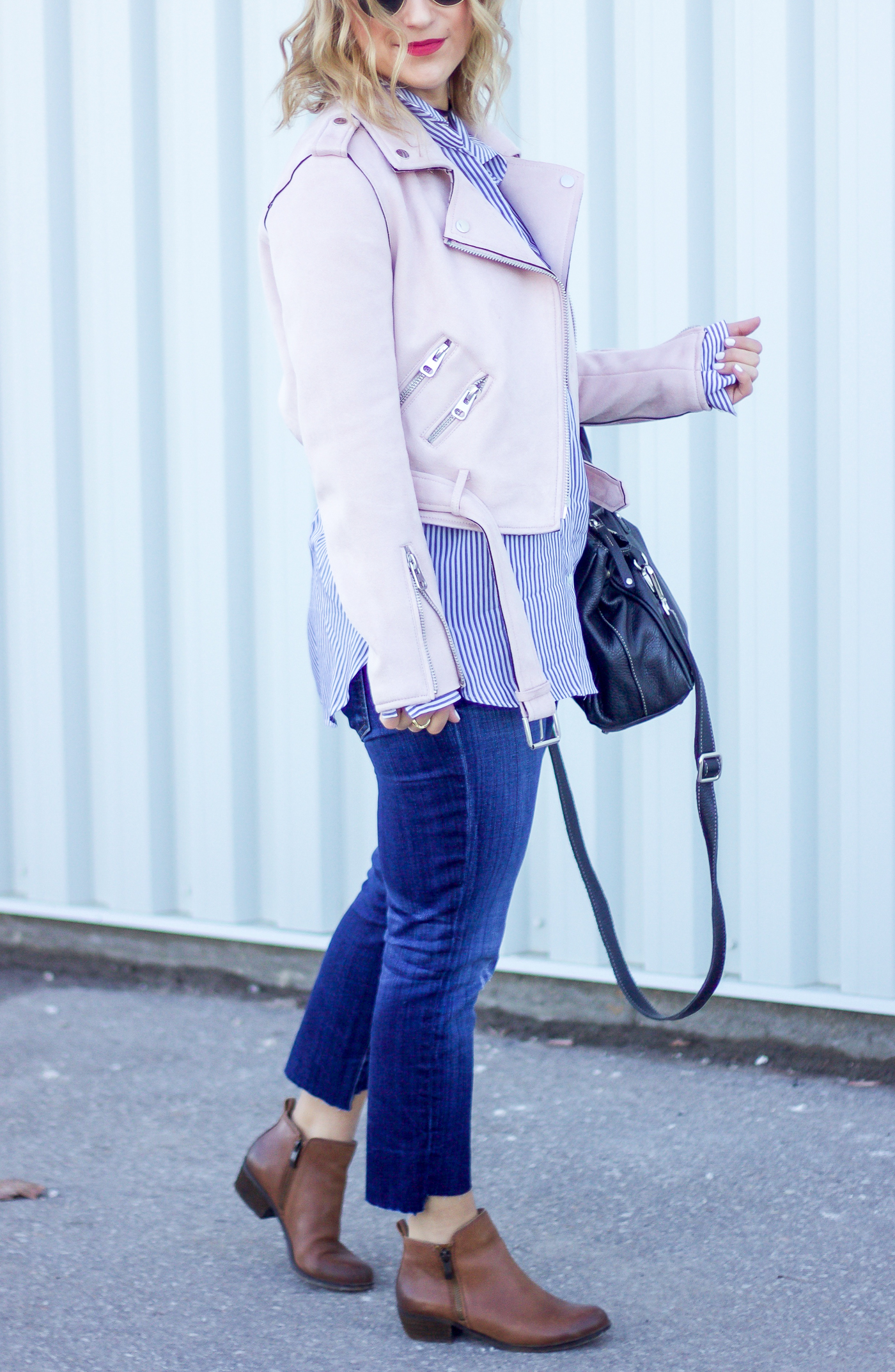 Pastel pink motorcycle jacket from Zara with DIY Step Hem jeans, seen on Canadian fashion blogger