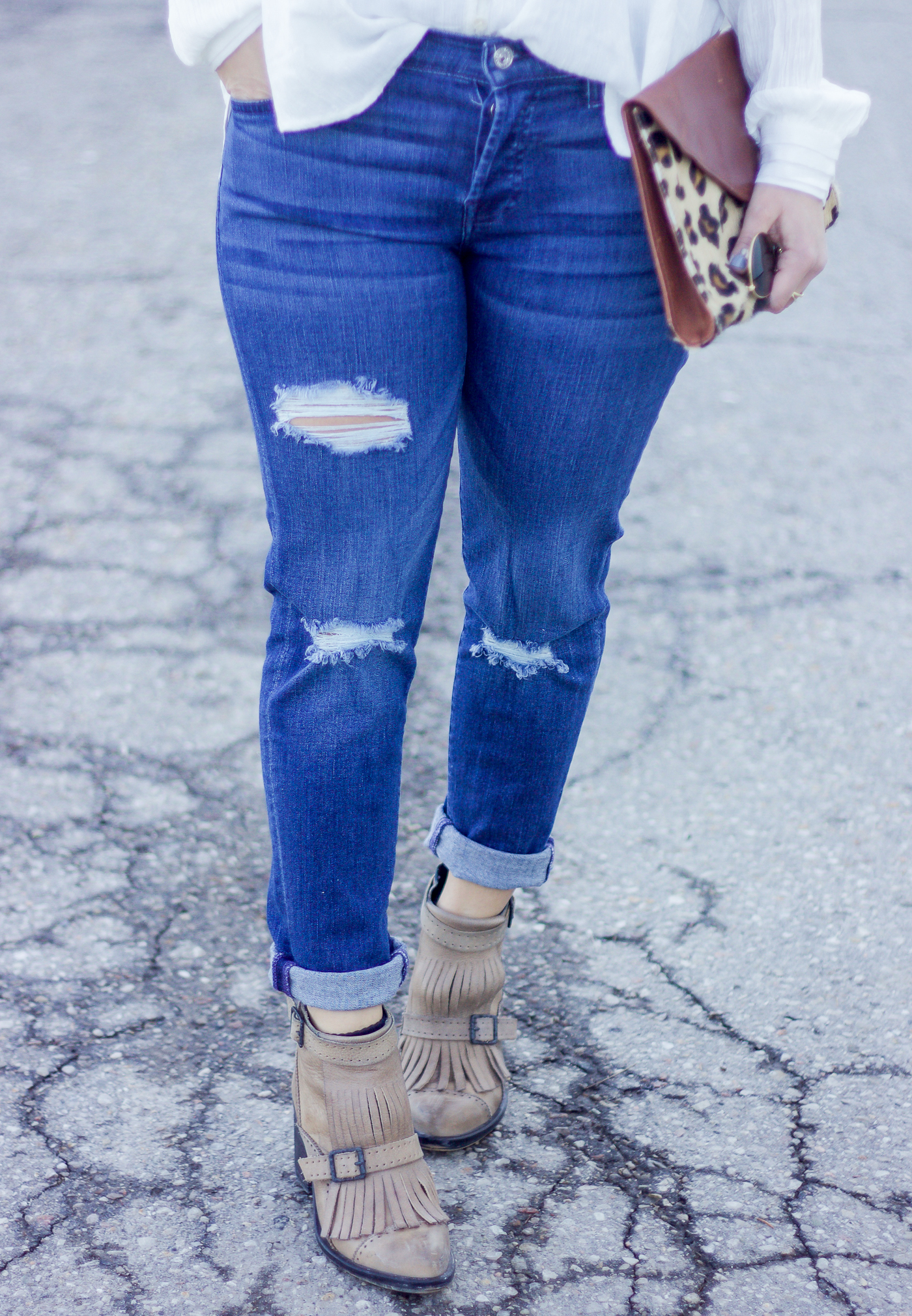 Ripped 7 For All Mankind Josefina boyfriend jeans in a medium wash