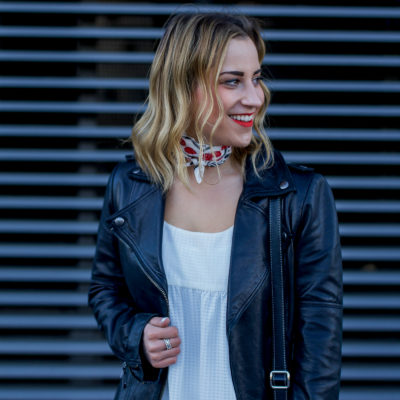 Canadian fashion and lifestyle blogger is wearing an edgy weekend outfit, and showing you how to wear a black leather moto jacket
