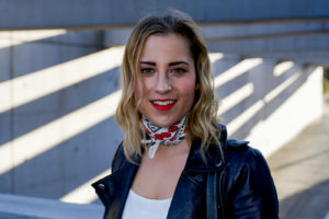 Top Toronto life and style blogger, Jackie Goldhar of Something About That, wearing a J.Crew bandana with a leather jacket