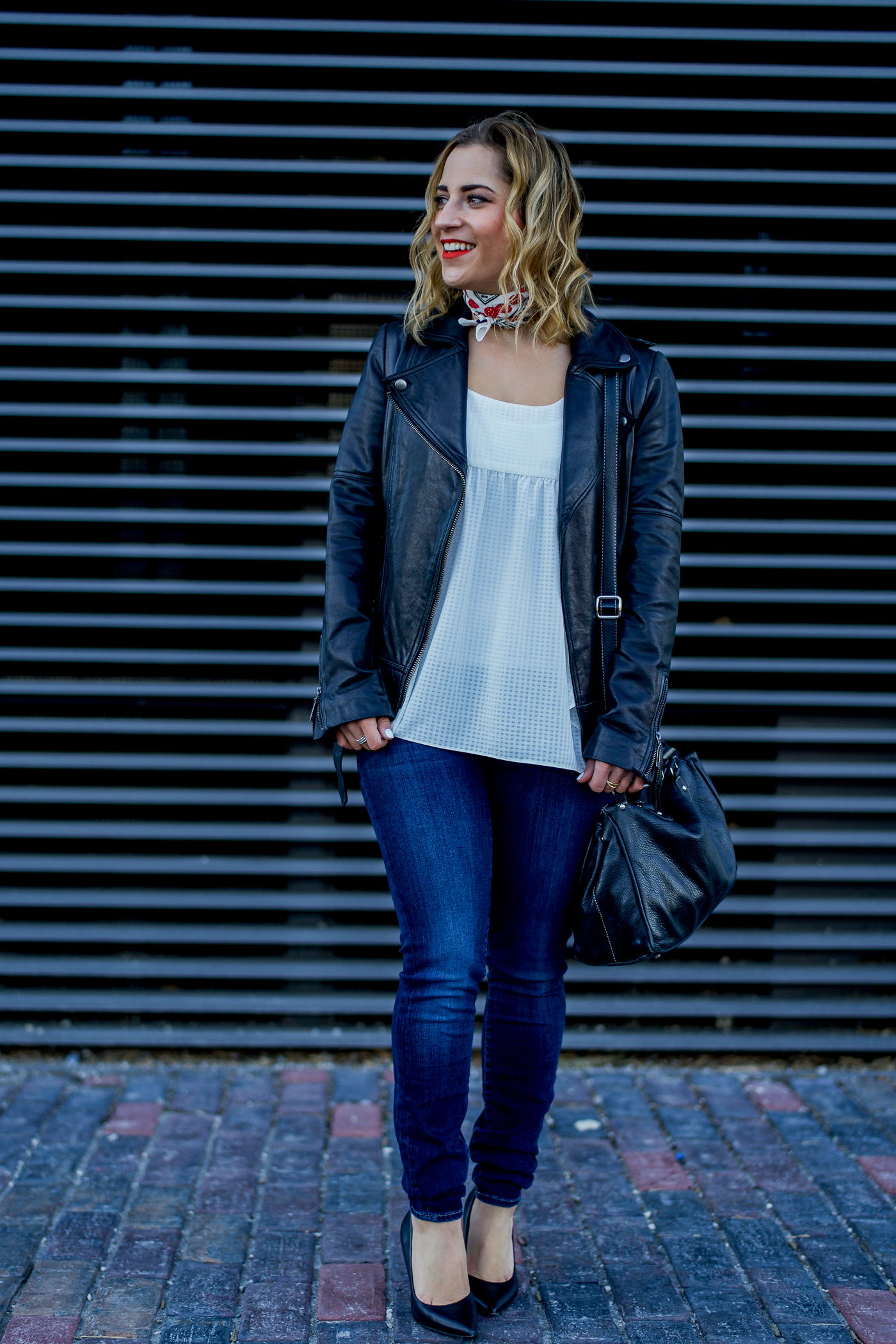 Edgy Outfit To Wear This Weekend, featuring a Soia & Kyo black leather moto jacket