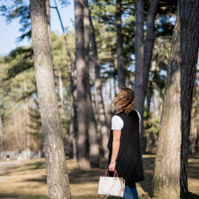 Canadian lifestyle and fashion blogger in Toronto's High Park, wearing a casual spring outfit