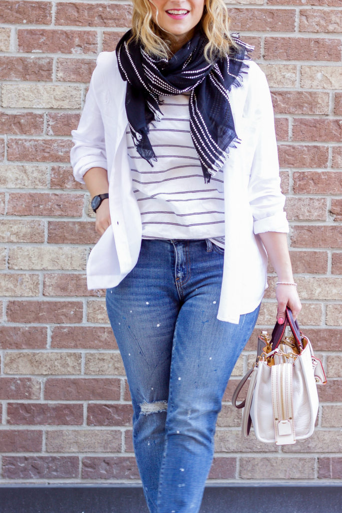 Easy spring outfit combo of white with denim, as seen on Canadian fashion blogger, Jackie of Something About That