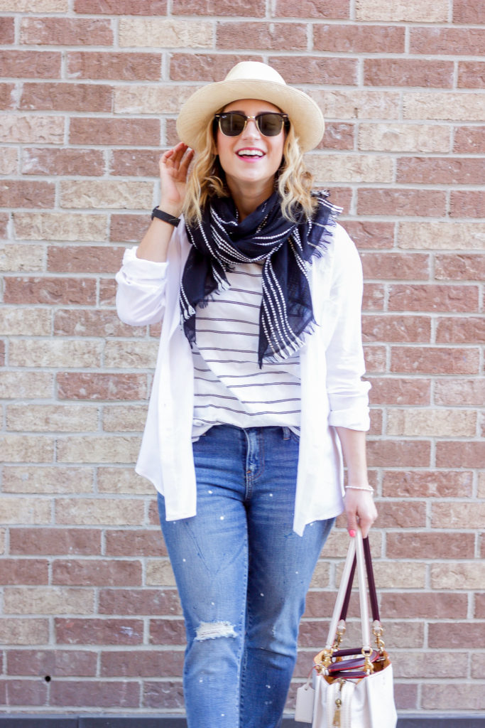 White with denim is a spring outfit combination that Toronto lifestyle and fashion blogger, Jackie of Something About That, swears by for spring