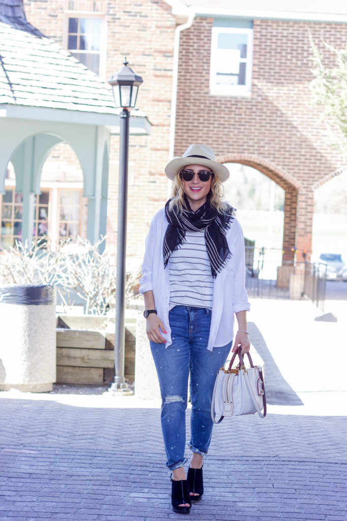 Spring outfit idea, featuring denim with white, as seen on a Canadian lifestyle and fashion blogger