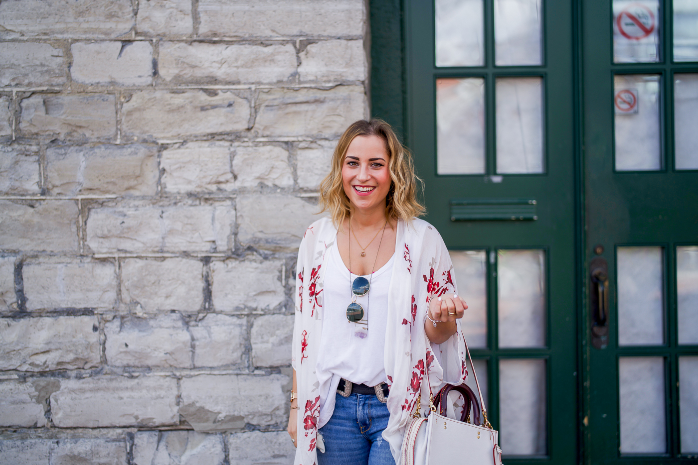 Spring outfit with a floral Gentle Fawn wrap