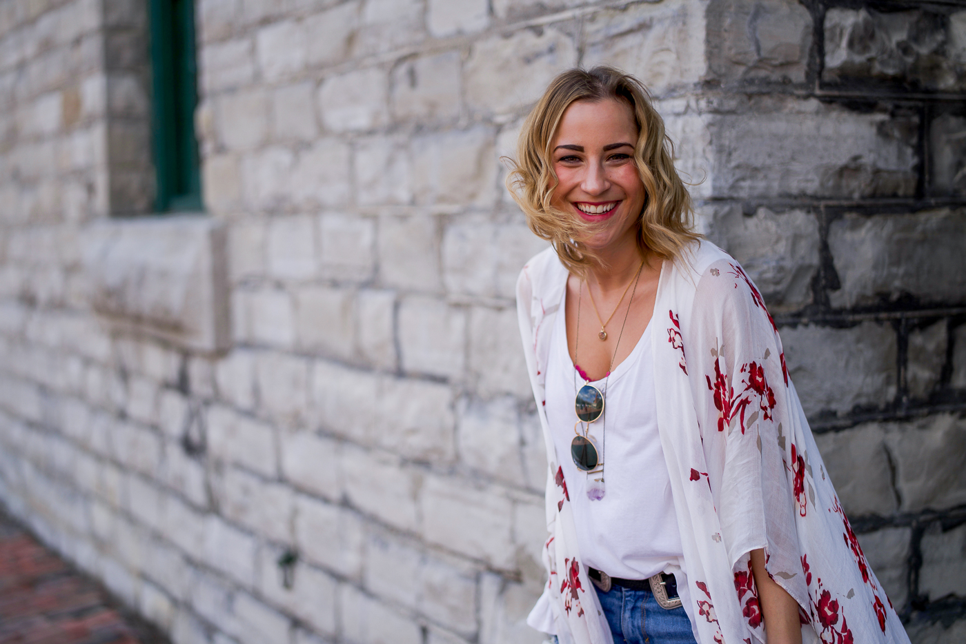 Jackie Goldhar is a Toronto fashion and lifestyle blogger, wearing a Gentle Fawn floral kimono as a part of a spring outfit