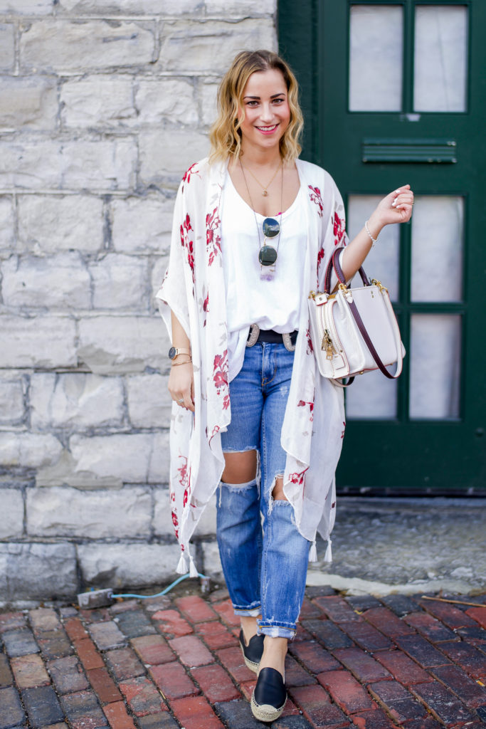Canadian fashion blogger, wearing a spring outfit that's perfect for the weekend - a floral kimono, white tank and ripped boyfriend jeans from Zara