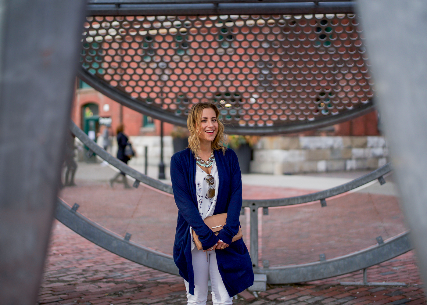 Toronto blogger in the Distillery District, wearing a navy blue cardigan from Joe Fresh