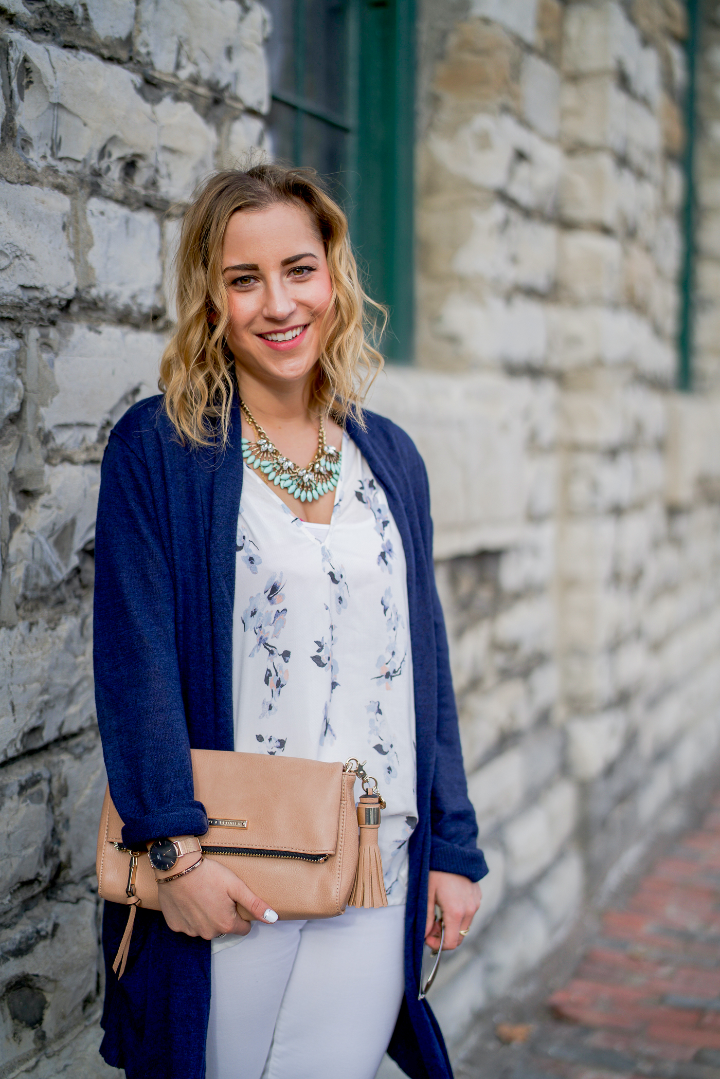 Canadian lifestyle and fashion blogger, Jackie Goldhar wearing a Gentle Fawn printed floral tank with a Joe Fresh cardigan for spring