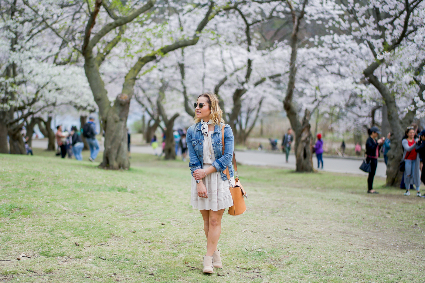 Dress with denim jacket outfit idea, as seen on Jackie Goldhar, a Canadian lifestyle and fashion blogger