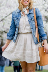 A casual spring outfit, wearing a Hudson Jeans denim jacket with a dress from Aritzia, polka dot neck scarf and a tan shoulder bag from Banana Republic